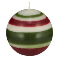 Small Striped Ball Eco Candle – Guardsmen Red, Pearl White & Olive