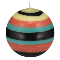 Small Striped Ball Eco Candle – Honey Bird Blue, Jet Black, Jasmine & Rust