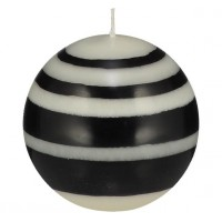 Small Striped Ball Eco Candle – Jet Black & Pearl White