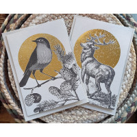 Luxury Foiled Christmas Cards - Stag/Robin - Pack of 6