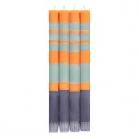 Classic Striped Dinner Candles - Gunmetal, Opaline & Marigold - Set/4