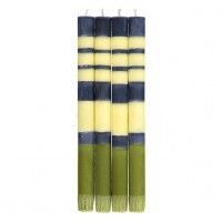 Classic Striped Dinner Candles - Indigo, Jasmine & Olive Set/4