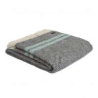 Fishbone Throw - Pure New Wool - Slate/Ocean