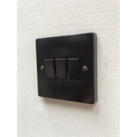 'Bakelite' Rocker Switch - 2 Way - Triple - Brown