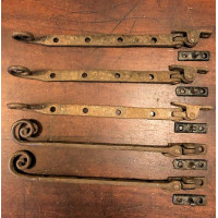 Reclaimed Set/5 Monkey Tail Window Stays - Rustic Aged Brown Finish