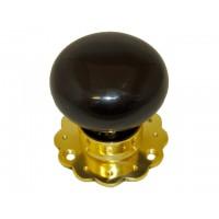 Ceramic Door Knob - Black - Brass Collar & Fluted Rose - Mortice & Rim