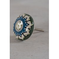 Textured Hand Painted Cupboard Knob - Green & Blue