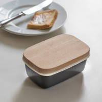 Butter Dish - Charcoal Grey or White & Beech Lid
