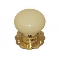 Ceramic Door Knob - Cream - Brass Collar & Fluted Rose - Mortice & Rim