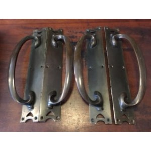 Reclaimed Heavy Metal Door Pulls - 2 Pairs - Dark Patina