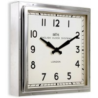 Chrome Smiths Square Clock - 41cm