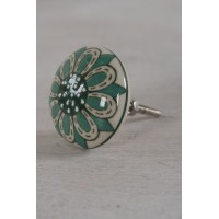 Textured Hand Painted Cupboard Knob - Turquoise & Green