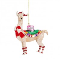 Festive Llama With Scarf Christmas Hanging Decoration