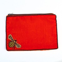 Bee Velvet Purse - Handed Beaded - Orange - Large