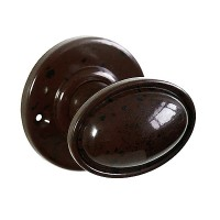 Stepped Oval Real Bakelite Door Knob - Round Rose - Pair
