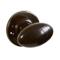 Plain Oval Real Bakelite Door Knob - Round Rose - Pair