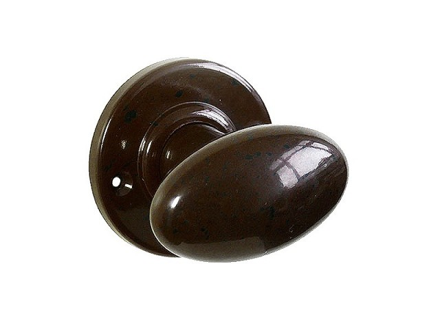 Plain Oval Real Bakelite Door Knob Round Rose Pair