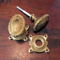 Ornate Oval Door Knob - Brass - Mortice & Rim