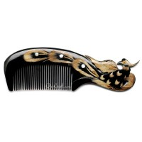 Hair Comb – Peacock - Hand Carved Horn