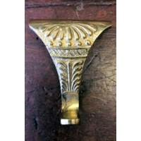 Picture Rail Hook - Brass - Floral