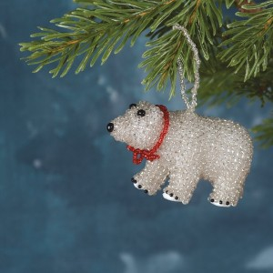 Silver Beaded Polar Bear Ornament