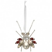 Glass Jewelled Insect Ornament - Red