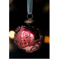 Florentine Style Red Etched Round Glass Bauble – Extra Large - Collection from Store Only