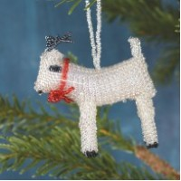 Silver Beaded Reindeer Ornament