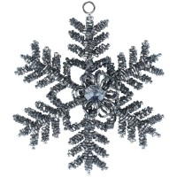 Glass Beaded Snowflake Gunmetal