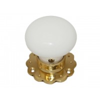 Ceramic Door Knob - White - Brass Collar & Fluted Rose - Mortice & Rim