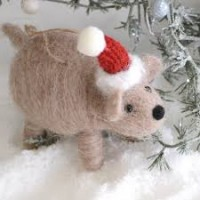 Wilma Wombat Christmas Felt Decoration